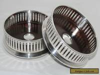 Pair of Vintage Silver and Mahogany Wine Coasters