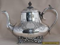Antique PHILIP ASHBERRY & SONS Silver Plate Large Capacity Tea Pot - Etched