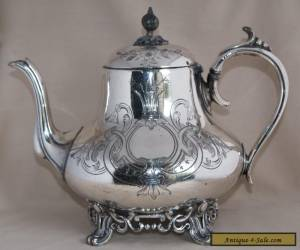 Antique PHILIP ASHBERRY & SONS Silver Plate Large Capacity Tea Pot - Etched for Sale