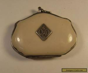 Antique French coin purse with silver monogram for Sale