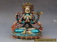 Chinese Cloisonne Handwork Carved Four armt Tara Buddha Statue
