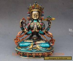 Chinese Cloisonne Handwork Carved Four armt Tara Buddha Statue for Sale