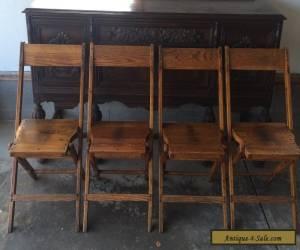Vintage Snyder Antique Wood Oak Wooden Folding Chairs Set of 4 for Sale