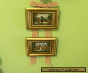 2 antique miniature arcylic paintings with gold frame for Sale