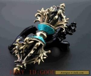 Tibet Tibetan Buddhism Bronze Turquoise Buddhist Ritual Tool Hand Vajra Dorje for Sale