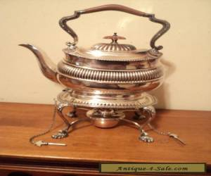 Antique Ornate Silverplate English Hinged Kettle Teapot on Stand w/ burner Keys  for Sale