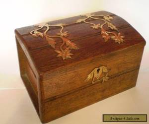 ANTIQUE, OAK JEWELLERY BOX WITH BRASS DECORATION..... for Sale