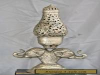 Fantastic Tall Vintage Solid Silver Double Elephant Table Lamp  Made In India
