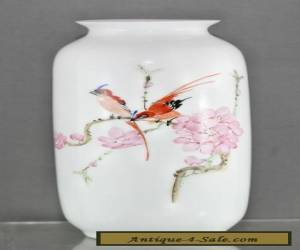 Delicate Vintage Chinese Hand Painted Fine Eggshell Porcelain Vase Circa 1950s for Sale