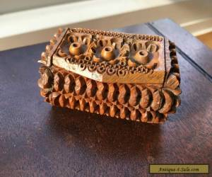 Antique Carved Coquilla Nut Treen Snuff Box  for Sale