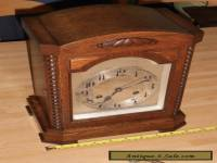 Large Antique Oak Cased Mantel Clock With Junghans Movement
