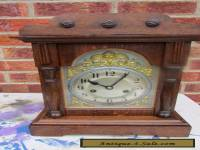 German Oak Striking Mantle Clock C1910