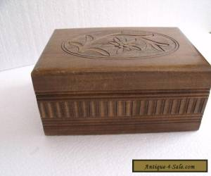 vintage carved wooden box with secret key compartment,  for Sale