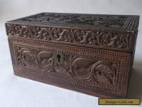Lovely Antique Deep Carved Rosewood Wooden Box Dutch Maori Tiki ?