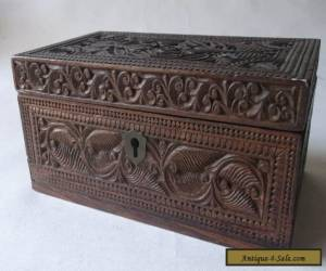 Lovely Antique Deep Carved Rosewood Wooden Box Dutch Maori Tiki ? for Sale
