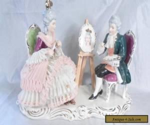 Wilhelm Rittirsch Dresden Lace Figural Group Woman Artist Portrait Germany for Sale