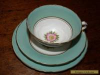 "ANTIQUE ""DELPHINE"" FINE BONE CHINA TEA CUP, SAUCER & PLATE SET"