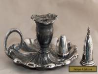 Vintage JAMES DIXON & SONS Silver Plate EPBM Bed Chamber Candle Stick/Snuffer