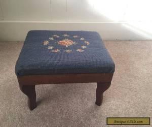 Vintage Needlepoint Footstool for Sale