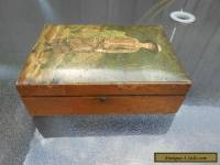 Antique Wooden Jewellery/Trinket Box with lid decoration of female with basket