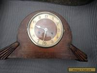 Vintage Wooden Art Deco Mantle Clock Wind Up Brass Mechanisum
