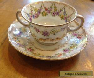 Vintage Bouillon Cup and Saucer Crown II Dresden Floral Garland for Sale