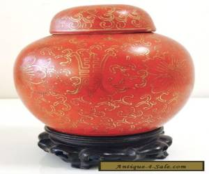 Antique Chinese Porcelain Monochrome Red Ginger Jar w/ Mark- Lot 90 for Sale