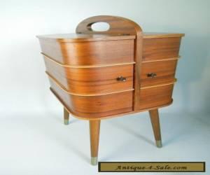 VINTAGE SEWING BOX TABLE EAMES DANISH MID CENTURY MODERN TEAK ART DECO 50s 60s for Sale