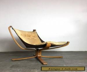 Vintage Mid Century Danish Modern Leather Falcon Sling Chair By Sigurd Ressell  for Sale