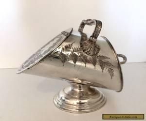 VICTORIAN / EDWARDIAN SILVER PLATE SUGAR SCUTTLE EPBM ca 1900 for Sale