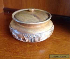Hand carved teak? 1970's beautifully wooden jar trinket box pot with lid for Sale