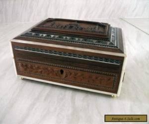 Vintage Indian Carved wooden box with ball feet for Sale