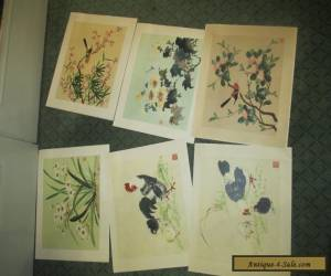 Set of 6 Vintage Chinese Watercolours in folder  for Sale