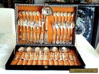 VINTAGE ELEGANT SILVER PLATED CUTLERY SET FOR 12 PERSONS BOXED ITALY