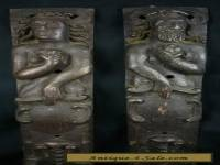 A PAIR OF ANTIQUE WOOD CARVED PANELS