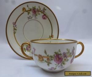 Limoges Vignaud Porcelain Bouillon Cup & Saucer for Sale
