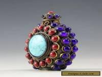 Oriental Vintage Handwork Silver Inlay Beads Snuff Bottle