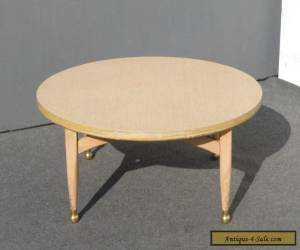 Vintage Danish Mid Century Modern Style Round COFFEE TABLE Peg Leg & Gold Feet for Sale