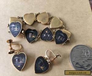 Vintage K24 Japanese Damascene bracelet and earring set c1940's for Sale