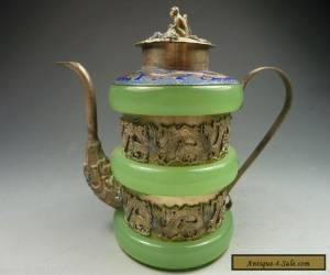 Old Decorated collectable Tibet silver green jade dragon teapot for Sale