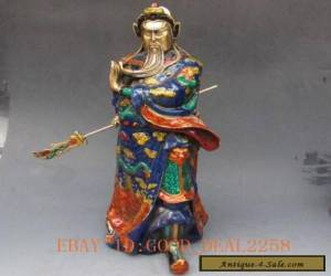 Chinese cloisonne hand-carved statue - Guan Gong for Sale