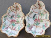 ANTIQUE CHINESE PORCELAIN PAIR DISHES TONG ZHI 1862 CRICKETS