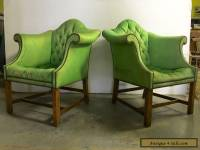 PAIR OF VINTAGE CHIPPENDALE CLUB CHAIRS WITH H SHAPE MAHOGANY FRAMES.