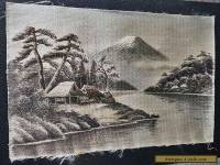 Beautiful Japanese Thread Embroidery Huts by River Mount Fuji Ex Cond