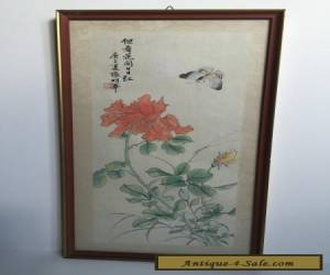 Oriental Chinese Japanese Painting On Silk Antique Vintage for Sale