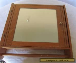 Vintage Medicine Cabinet Wood Antique Medicine Chest Mirror Early Towel Bar OAK  for Sale