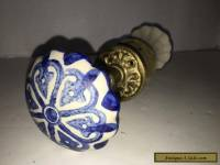 Vintage Large Hand Painted Blue & White Porcelain Door Knobs