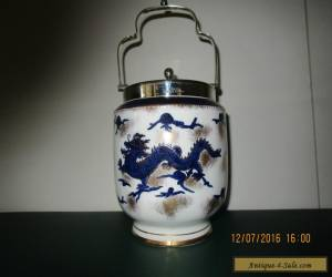 "Antique Coronaware  S. HANCOCK & SONS Biscuit Barrel EPNS Lid & Handle. ""DRAGON"" for Sale"