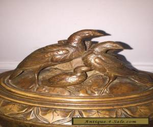 Antique 19th C Swiss Black Forest Carved Wood Jewellery Box With Gropes Of Bird for Sale