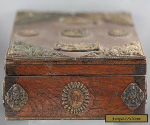 Fantastic Antique Wooden Box Decorated w/Casted Iron Buddhist Symbols for Sale